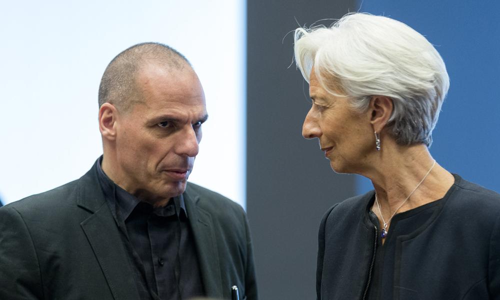 Il ministro dell'economia greco Yanis Varoufakis e la direttrice del Fondo monetario internazionale Christine Lagarde in Lussemburgo, il 18 giugno. - Thierry Monasse, Afp
