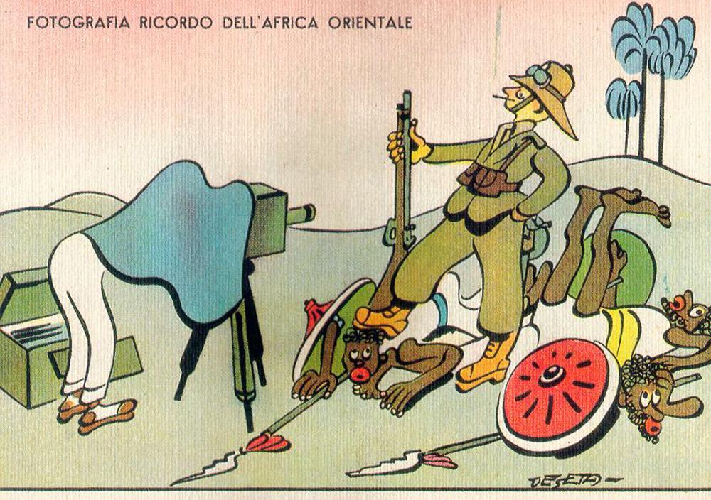 Cartolina umoristica della guerra d'Etiopia, 1930 circa. - Enrico De Seta, Archivio Ufficio Storico Stato Maggiore dell'Esercito