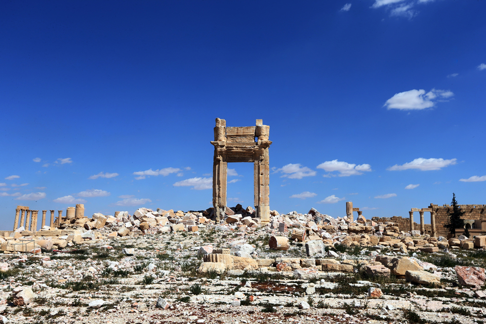 I resti della cella del tempio di Bel, a Palmira, in Siria, il 31 marzo 2016. - Joseph Eid, Afp
