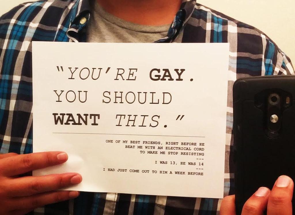 """Da Project unbreakable: """"Sei gay. Questo dovrebbe piacerti """". Uno dei miei migliori amici, prima di picchiarmi con un cavo elettrico per farmi stare fermo. Io avevo 13 anni, lui 14. Una settimana prima gli avevo detto di essere gay. - Tumblr"""