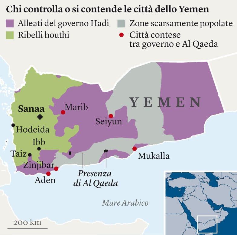 Chi controlla o si contende le città dello Yemen