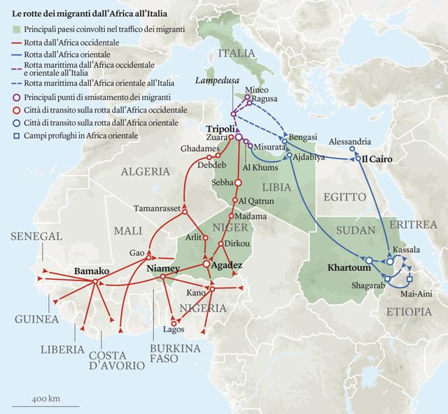 Cartina Italia E Africa.Il Viaggio In Africa Dei Migranti In Una Mappa Marina Forti Internazionale