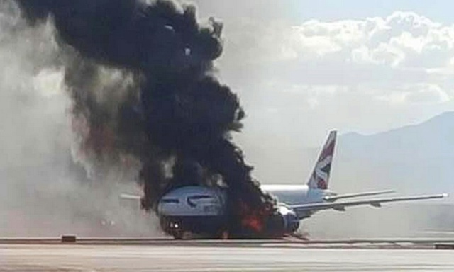 Un aereo della British Airways ha preso fuoco a Las Vegas