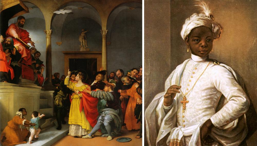 A sinistra, la schiava vestita di arancione (in basso) nel dipinto Santa Lucia davanti al giudice di Lorenzo Lotto; a destra un adolescente nero ritratto dal pittore Alessandro Longhi. -