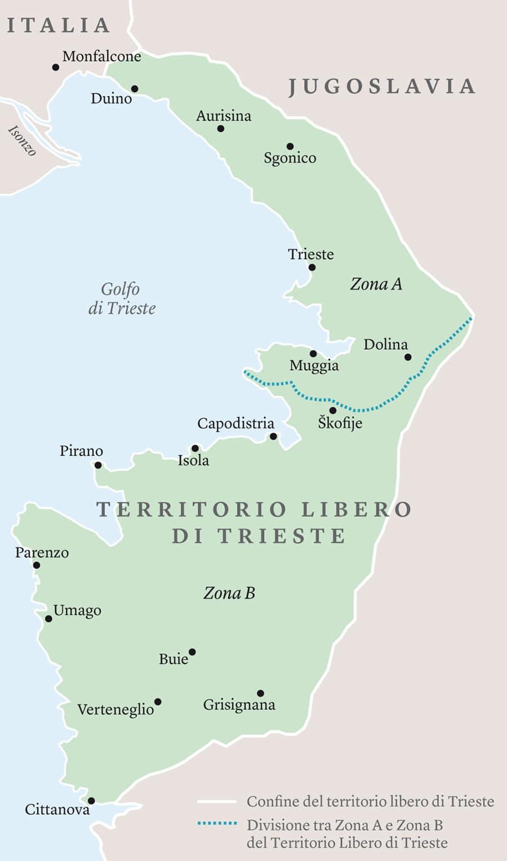 Il Territorio libero di Trieste (TlT), istituito dal trattato di pace del 1947 e diviso provvisoriamente in zona A (sotto amministrazione angloamericana) e zona B (sotto amministrazione jugoslava). Nel 1954, in base al memorandum di Londra, la zona A passò sotto amministrazione italiana. Con il trattato di Osimo nel 1975 Italia e Jugoslavia sancirono la definitiva spartizione del TlT tra i due stati. -