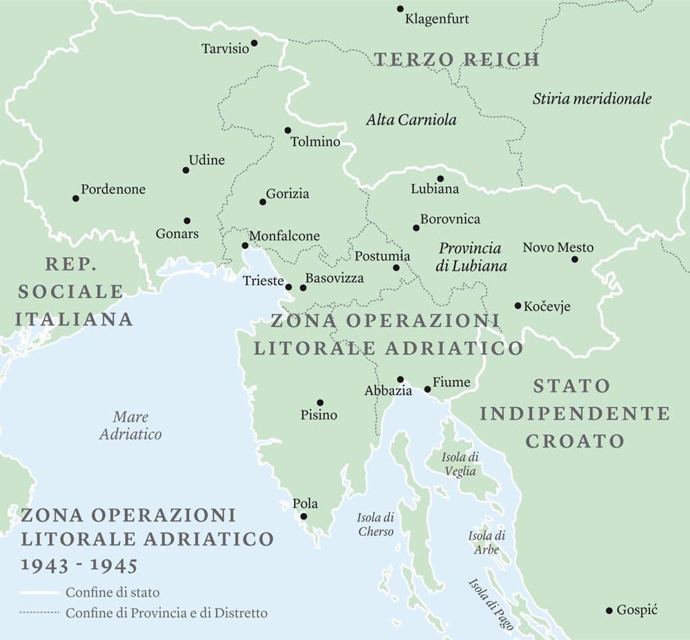 La Zona di operazioni Litorale Adriatico (Ozak), stabilita dall'amministrazione militare tedesca nel settembre 1943, annessa de facto al reich nazista. Analogo statuto ebbe la Zona di operazioni delle Prealpi (Ozav), che comprendeva le province di Trento, Bolzano e Belluno. -