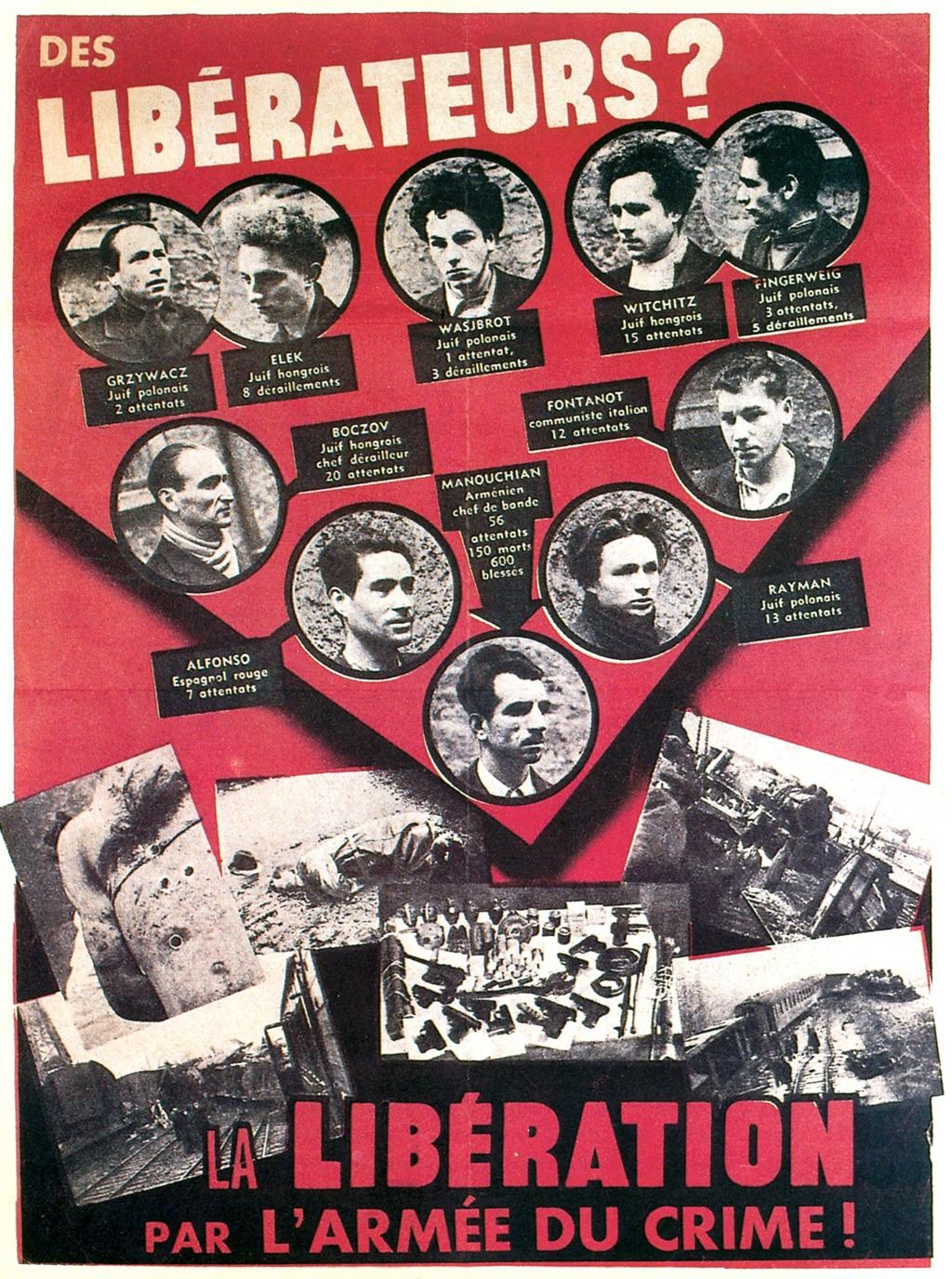 """Il celebre """"Affiche rouge"""", manifesto di propaganda nazista diffuso a Parigi nel 1944, dopo l'esecuzione di 23 membri del gruppo Franchi tiratori partigiani - mano d'opera immigrata (Ftp-Moi). Sulla destra, il monfalconese Spartaco Fontanot. -"""