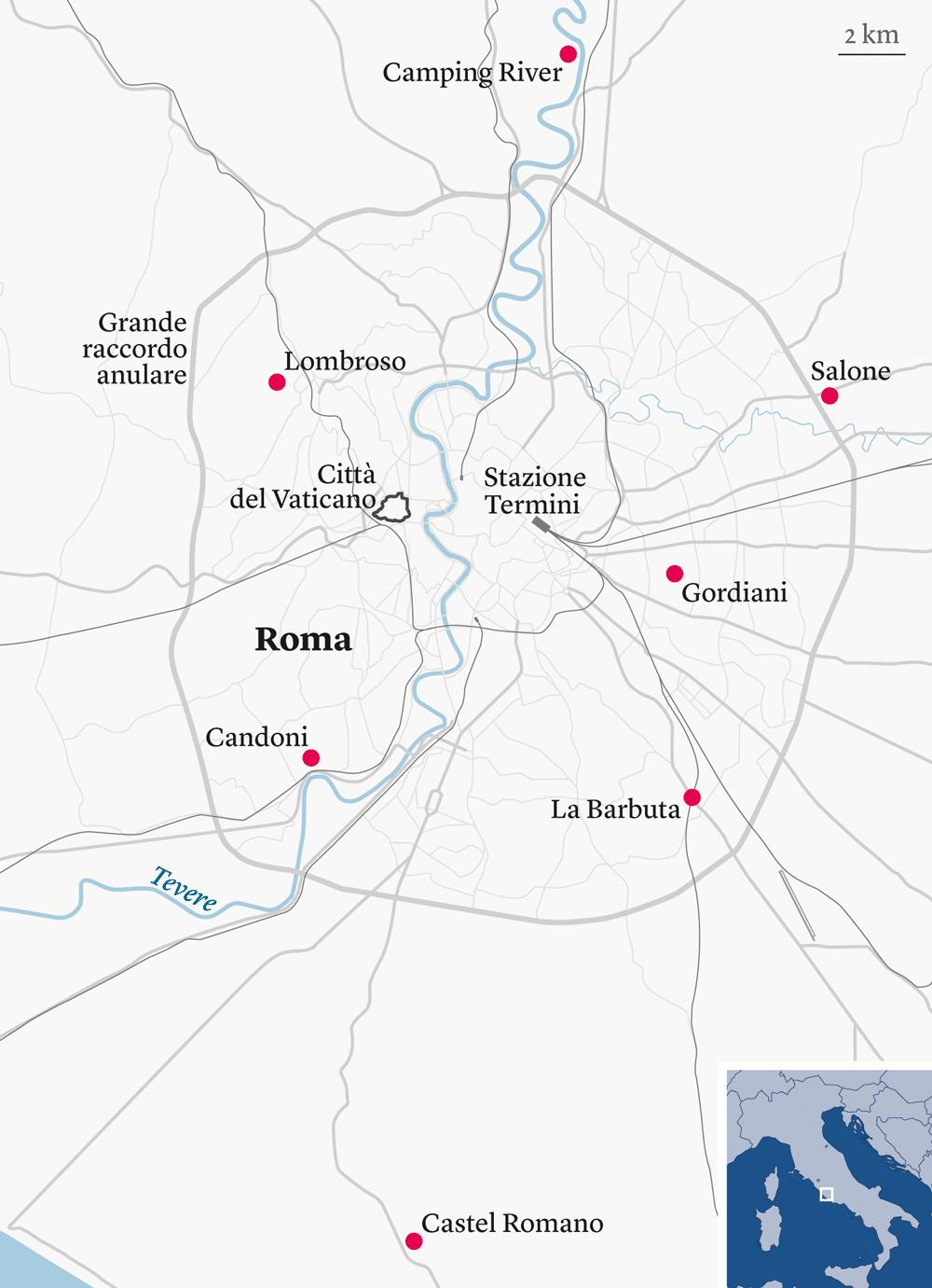 I sette campi rom ufficiali a Roma -
