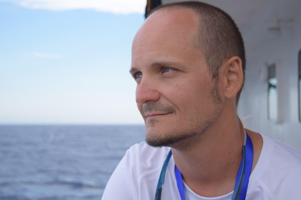 Alessandro Porro, un soccorritore di Sos Méditerranée a bordo dell'Aquarius, il 15 luglio 2017.  - Annalisa Camilli