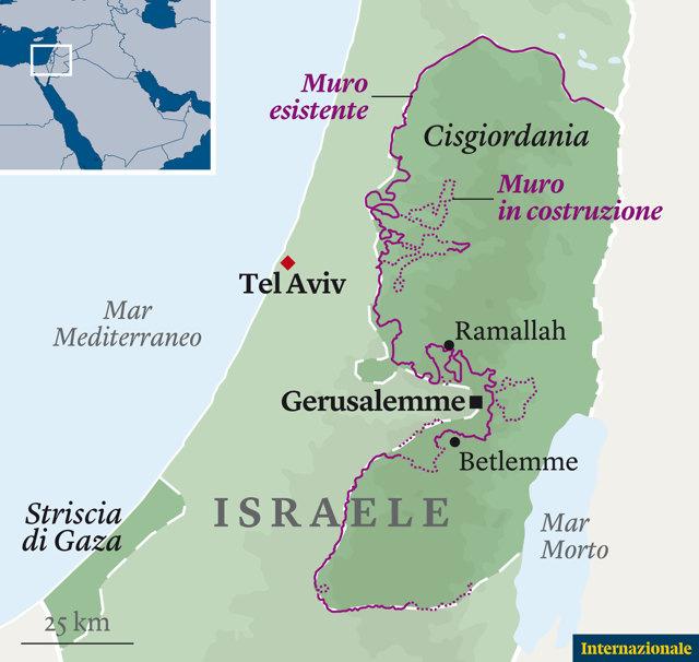 Cartina Israele E Palestina.La Vita Dei Palestinesi Si Scontra Con Il Muro Costruito Da