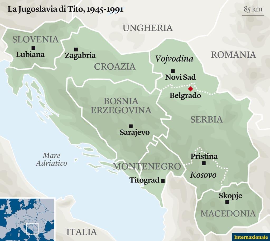 Le sei repubbliche e le due province autonome della Jugoslavia -