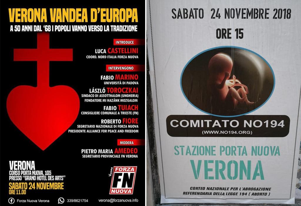 I manifesti di Forza nuova e del comitato No 194 a Verona, novembre 2018. - Dr