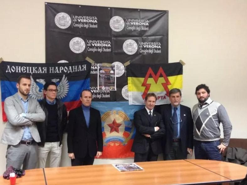 Savoini (il terzo da sinistra) a un evento sul Donbass a Verona, dicembre 2016. La foto era stata pubblicata sulla pagina Facebook dell'Associazione culturale Lombardia Russia, ma non è più disponibile. - BuzzFeed