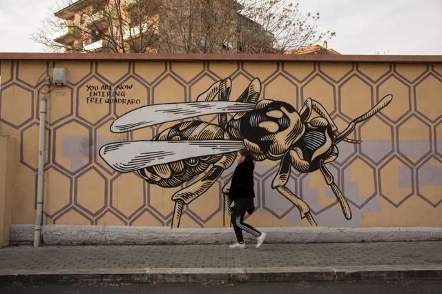 Quadraro, Roma, 2018. Il murale Nido di vespe dello street artist Lucamaleonte. - Sara Cervelli
