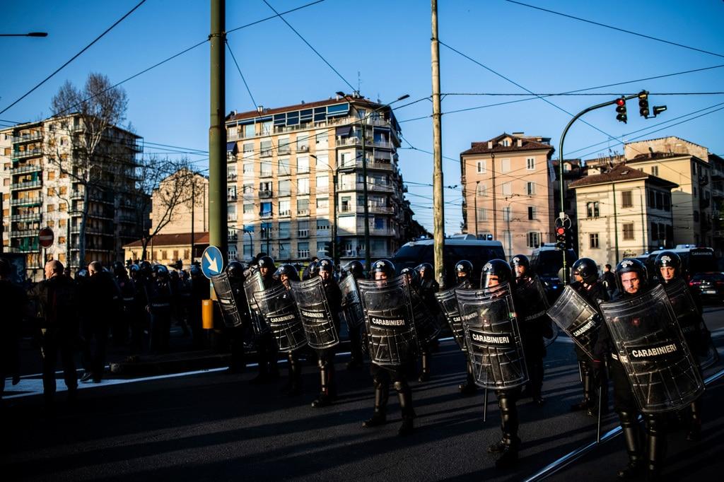 Durante il corteo contro lo sgombero dell'asilo occupato a Torino, il 30 marzo 2019. - Marco Alpozzi, Lapresse