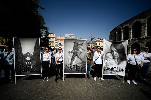 Durante il Congresso mondiale delle famiglie a Verona, il 31 marzo 2019. - Filippo Monteforte, Afp