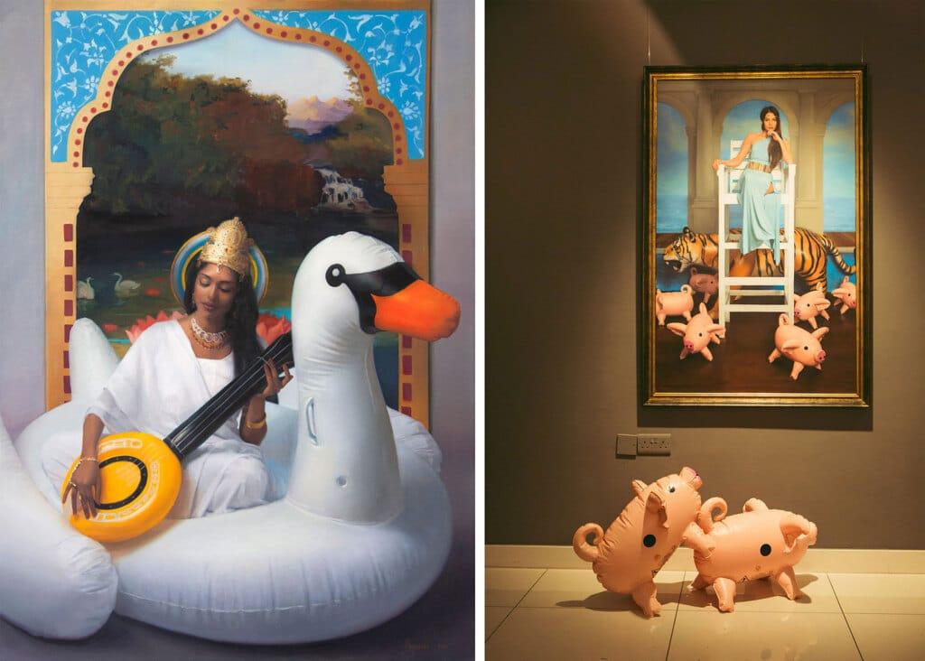 Due tele di Sj Fuerst durante la mostra alla Lily Agius gallery a Sliema. - Lily Agius gallery