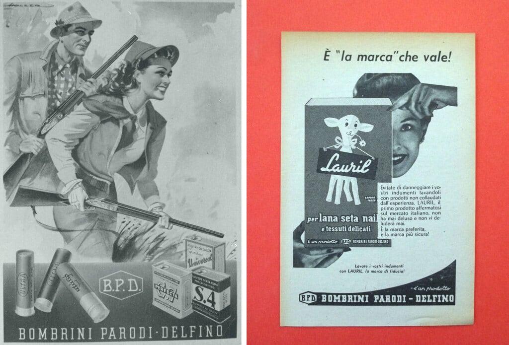 A sinistra: una locandina pubblicitaria dei prodotti da caccia della Bpd, 1960 circa; a destra: prodotti per la casa, 1960 circa. - Centro di documentazione del comune di Colleferro e archivio privato Renzo Rossi
